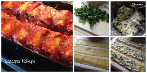 Lasagna roll up collage